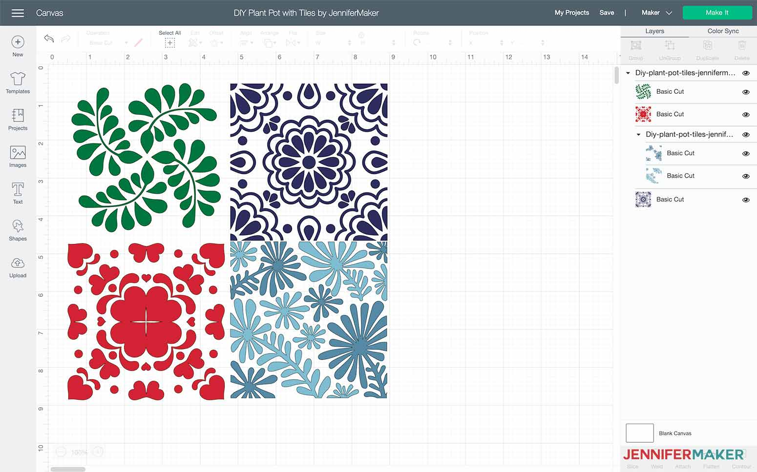 This is what my DIY plant pot with tiles looks like in Cricut Design Space