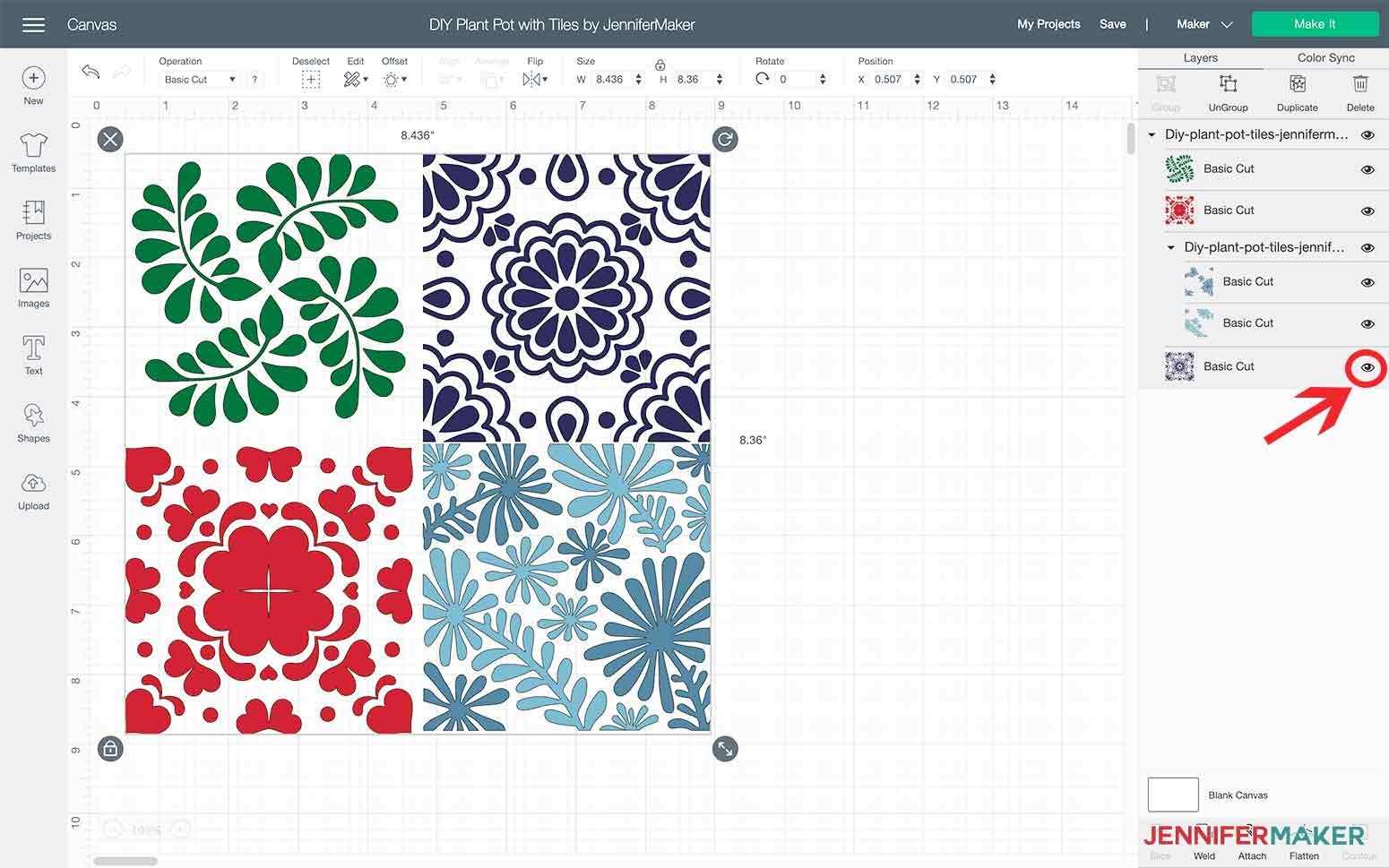 Select the design and click ungroup in Design Space for my DIY Plant Pot with Tiles
