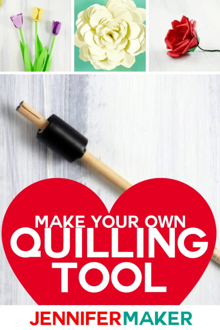 This DIY Quilling Tool will help you master paper flowers! It is easy to make with only 3 supplies needed. #papercrafts #papercrafting #cricutprojects #diy #tutorial #craftprojects