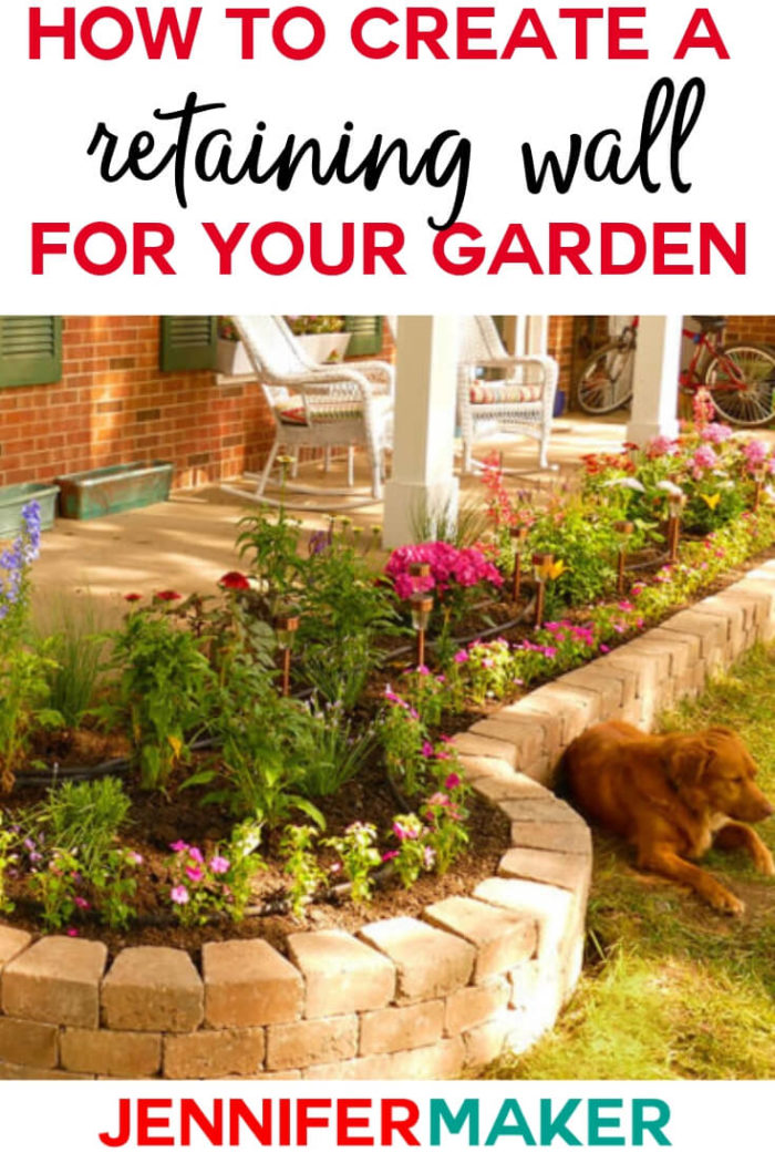 This DIY retaining wall is affordable, attractive, and simple to build. I will show you how to construct a freestanding wall step by step, both straight and curved sections, for a fabulous look! #garden #diy #tutorial