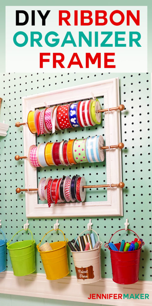 DIY Ribbon Organizer and Storage Frame for your Organized Craft Room! | #craftroom #organization #diy | cute pegboard accessories | ribbon rod