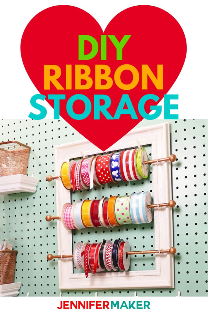 This DIY Ribbon Organizer with frame will help keep your craft space organized while still having access to your supplies. #craftroom #tutorial