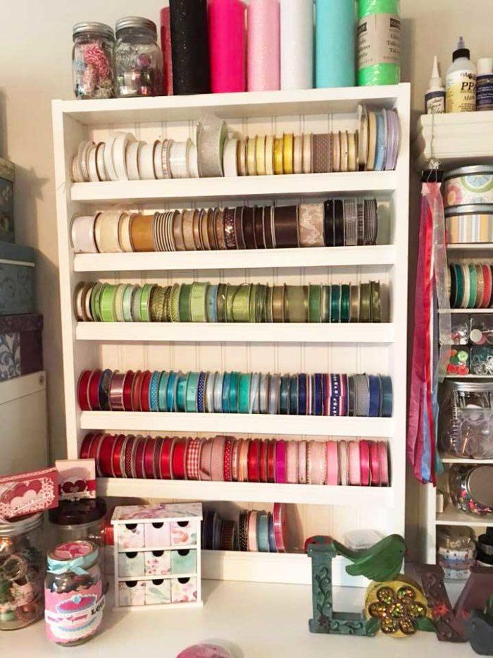DIY Ribbon Storage Rack made with beadboard