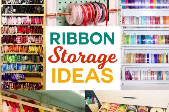 DIY Ribbon Storage Ideas to keep your craft ribbon spools organized and accessible #craftroom #organization #storage