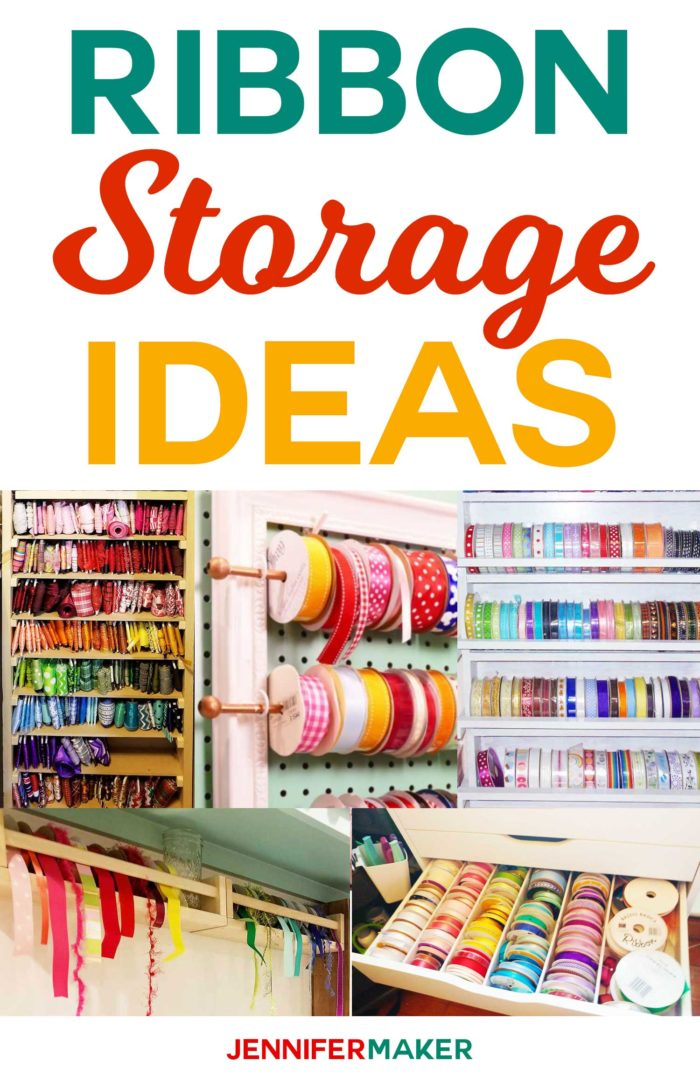 DIY Ribbon Storage Ideas to keep your craft ribbon spools organized and accessible #craftroom #organization #storage