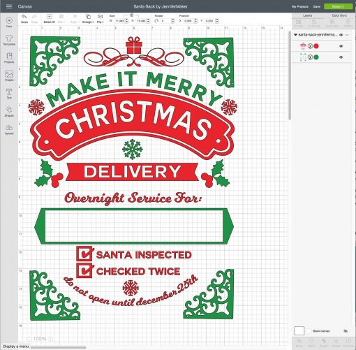 Upload your DIY Santa Sack to Cricut Design Space
