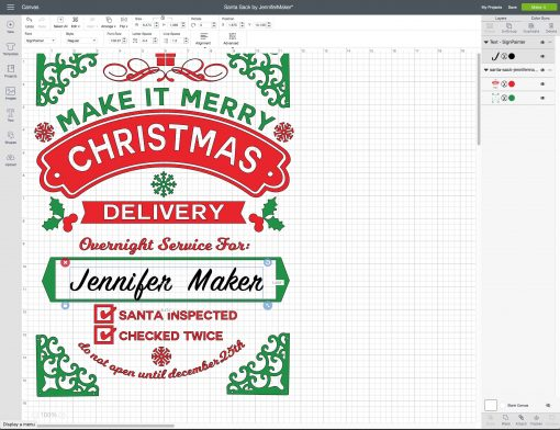 Click the text icon in Cricut Design Space to personalize your DIY Santa Sack