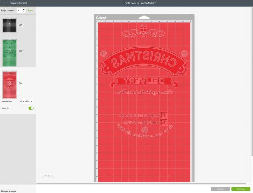 Mirror the images on all layers of your DIY Santa Sack in Cricut Design Space