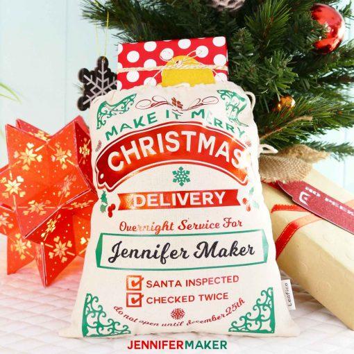 DIY Santa Sack Tutorial with Personalized Name   Cut on a Cricut   Free SVG Files   Iron-On Vinyl   HTV   How to Make a Santa Sack