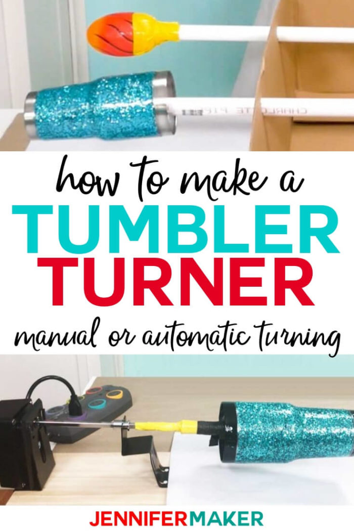 Learn how to make an inexpensive DIY tumbler turner in two different ways -- the low tech super cheap method of a cardboard box and PVC pipes, or the still inexpensive rotisserie turner method! Both are easy ways to make cup turners for your glitter tumblers!  #diy #tutorial #craftprojects