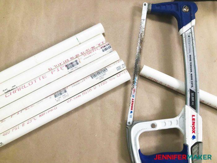 Cutting PVC pipe to make DIY tumbler turners