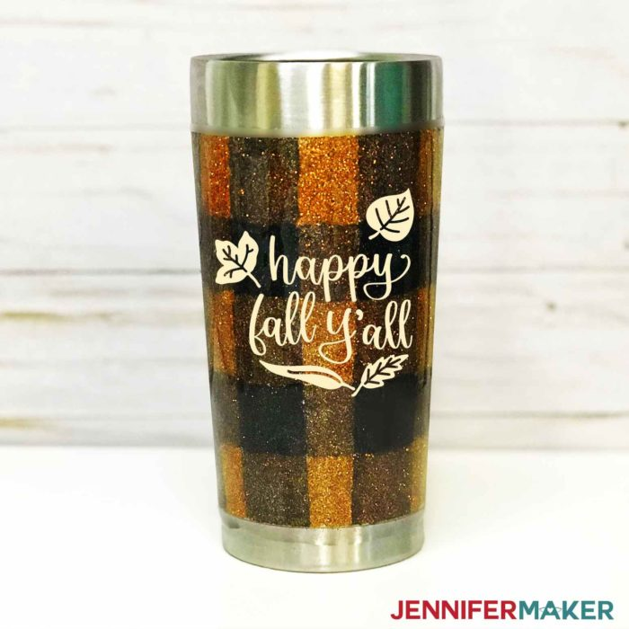 "DIY Vinyl Decal of ""It's Fall Y'All"" on a Fall-Themed Plaid Glitter Tumbler"