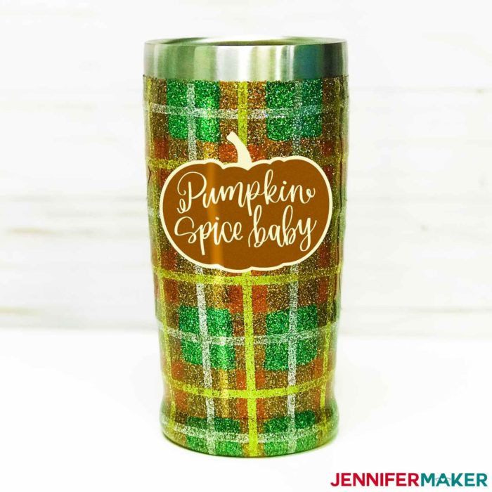 "DIY Vinyl Decal of ""Pumpkin Spice Baby"" on a Fall-Themed Plaid Glitter Tumbler"