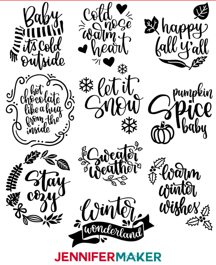DIY Vinyl Decal Sayings for Fall and Winter -- Free SVG Cut Files for Tumblers, Signs, Shirts, Bags, and More!