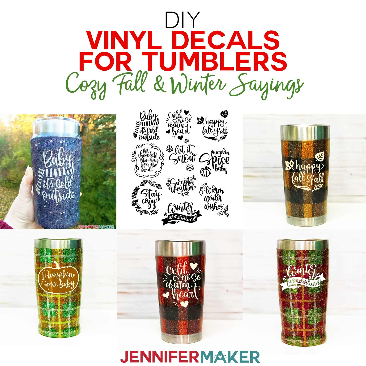 DIY Vinyl Decals for Tumblers with Cozy Fall & Winter Sayings | Free SVG Cut Files for Cricut | #tumbler #cricut #vinyl