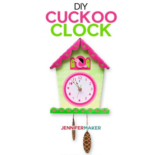 Make a DIY Wall Clock with a cuckoo using paper and your Cricut | Free SVG cut file #cricut #clock #papercraft