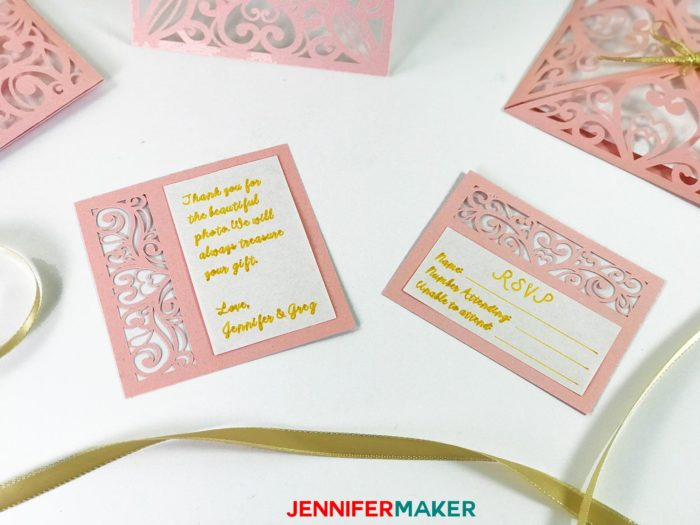 Pink laser cut thank you and RSVP cards for the DIY Wedding Invitation Template Tutorial