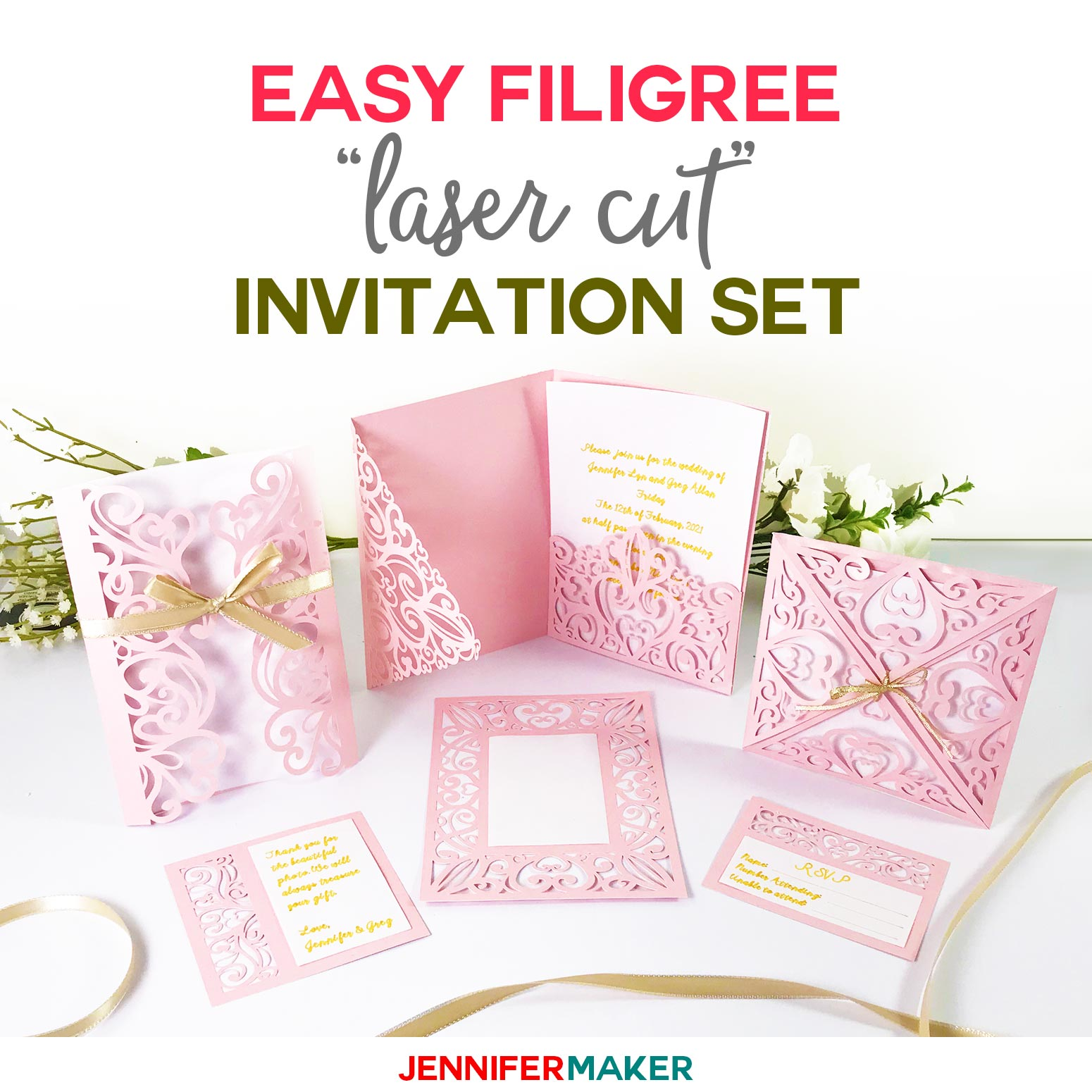 Wedding Invitation Template.Diy Wedding Invitation Templates Free Laser Cut Set Jennifer Maker