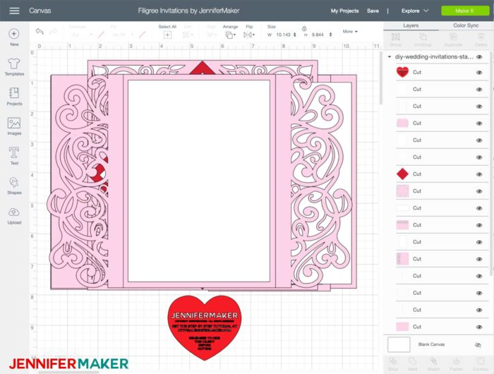 Wedding invitation svg cut file uploaded to Cricut Design Space