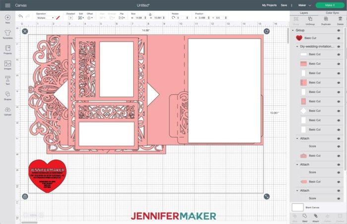 DIY Wedding Invitation SVG Cut File in Cricut Design Space