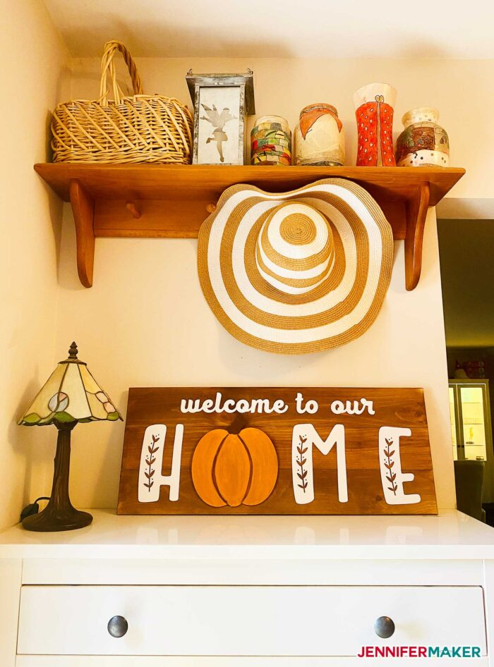 DIY Welcome Home Sign with a Pumpkin in an entry way