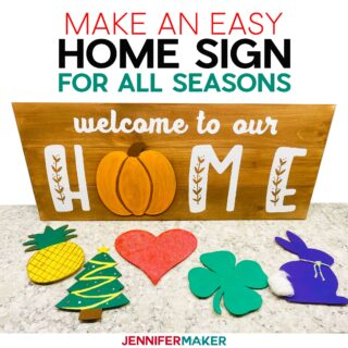DIY Welcome Sign with Seasonal Decorations - Pumpkin, Pineapple, Tree, Heart, Clover, and Bunny