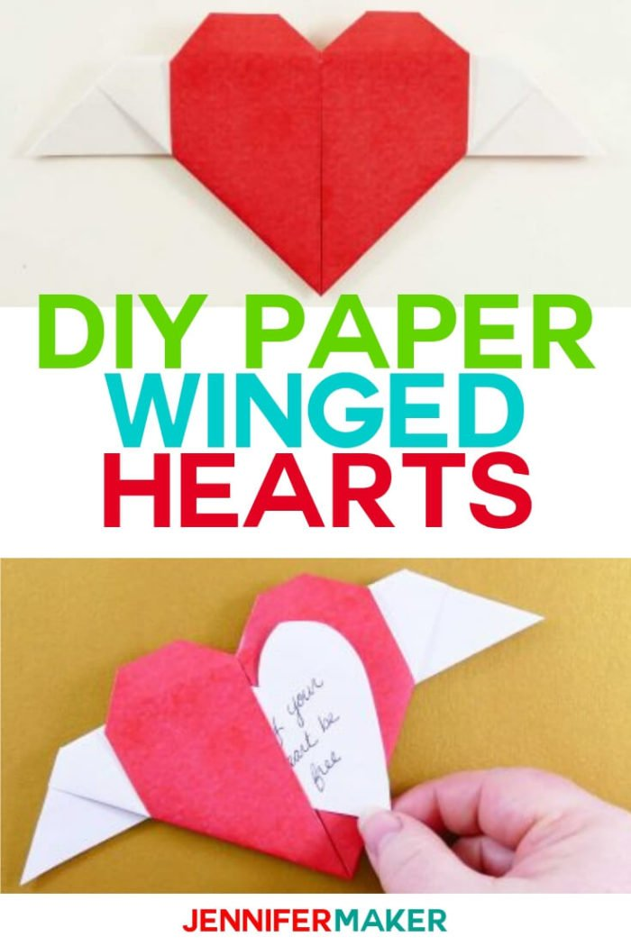 DIY Paper Winged Hearts a great Cricut project when you want to leave a message for a loved one or simply to cheer yourself up. #cricut #cricutmade #cricutmaker #cricutexplore #svg #svgfile