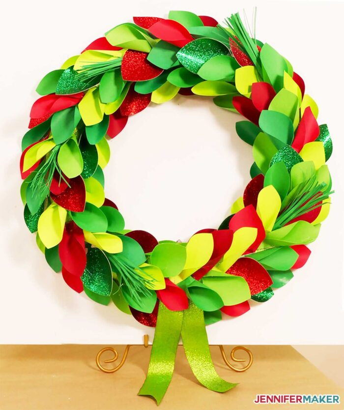 Christmas wreath made from paper