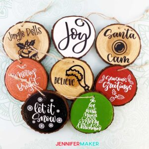 Wood Slice Ornaments painted with acrylic paint and decorated with permanent vinyl