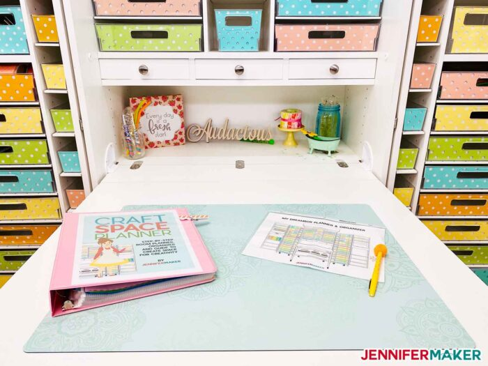 The drop down table on the DreamBox craft storage unit