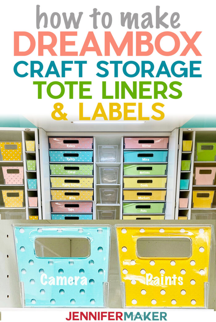 Make Dreambox Storage Tote Liners and Labels with Free SVG Cut Files #craftroom #organization #svgcutfile