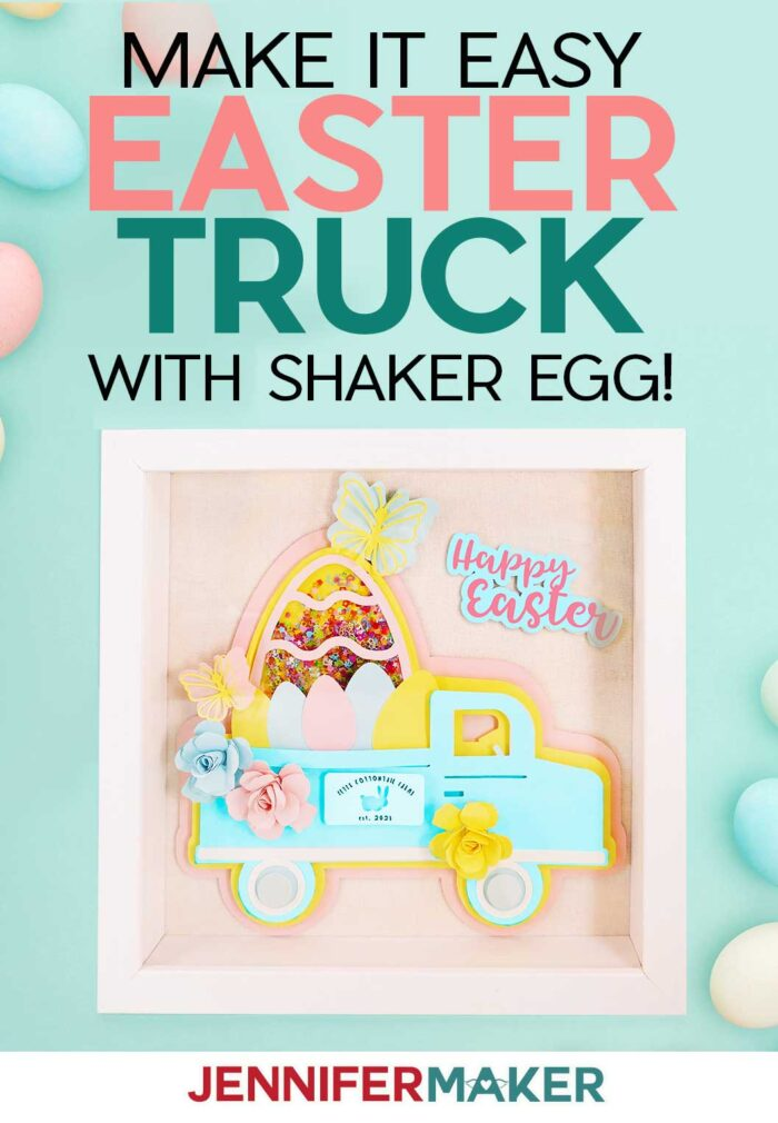 Easter Truck Decor Shadowbox, perfect for Easter #cricut #easter