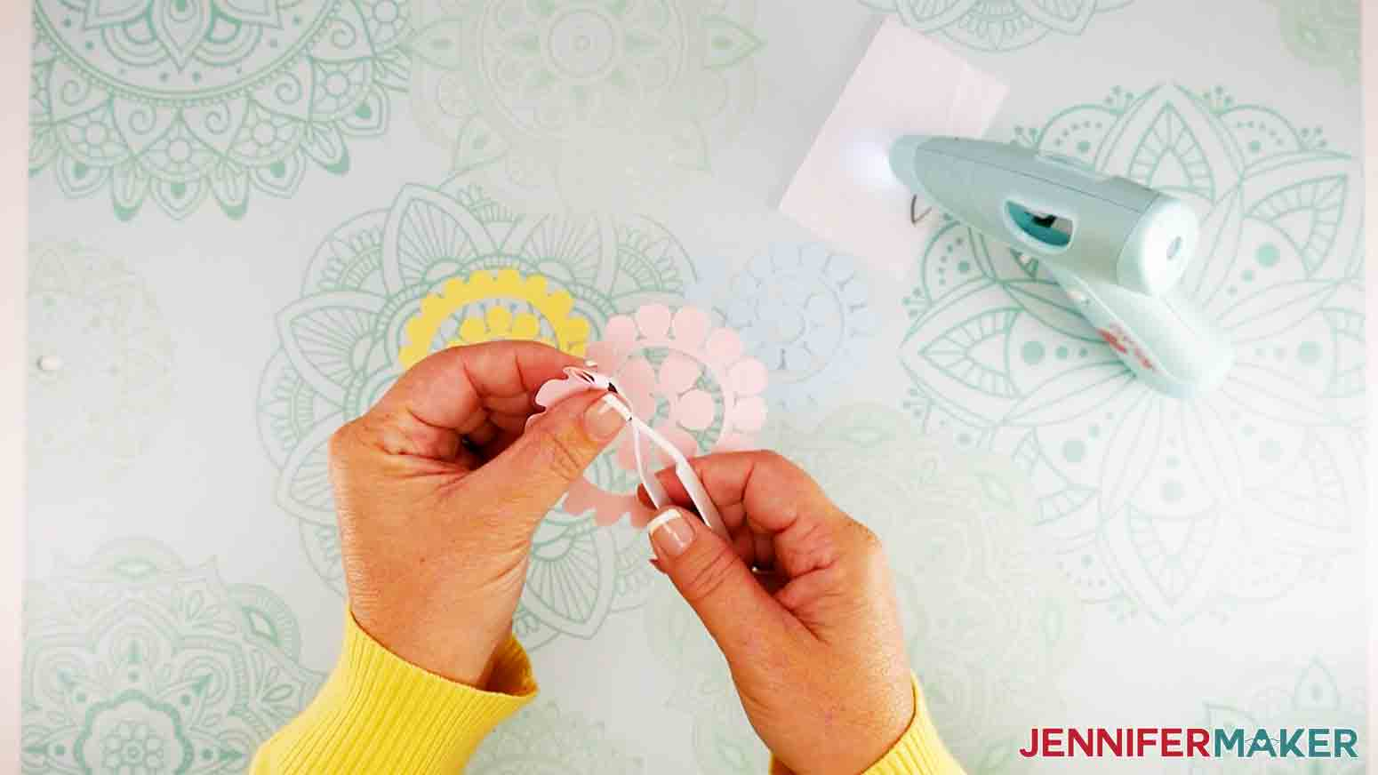 easter truck decor rolling paper flowers on tweezers