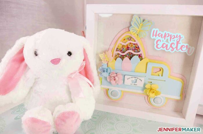 Easter Truck Decor Shadowbox in pastel paper with a cute bunny