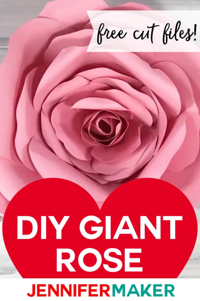 This giant rose makes a gorgeous decoration for parties and walls! Find the free cut file and tutorial by clicking here. #cricut #cricutmade #cricutmaker #cricutexplore #svg #svgfile