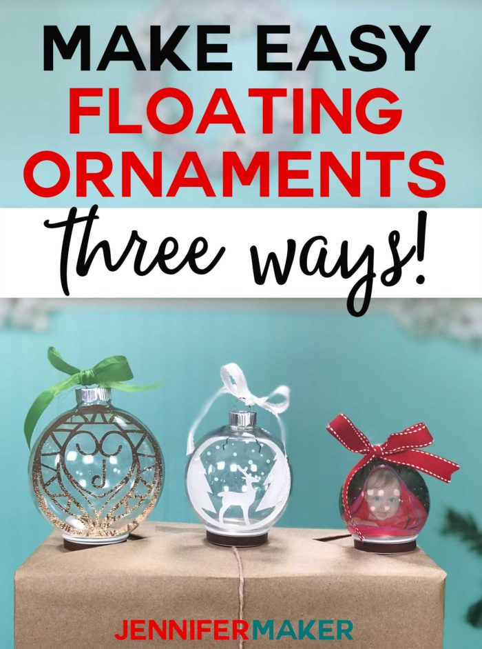 Make Easy Floating Ornaments on a Cricut the Easy Way with three different methods, including a photo ornament! #cricut #holidaydecor #ornaments #circutexplore #handmade