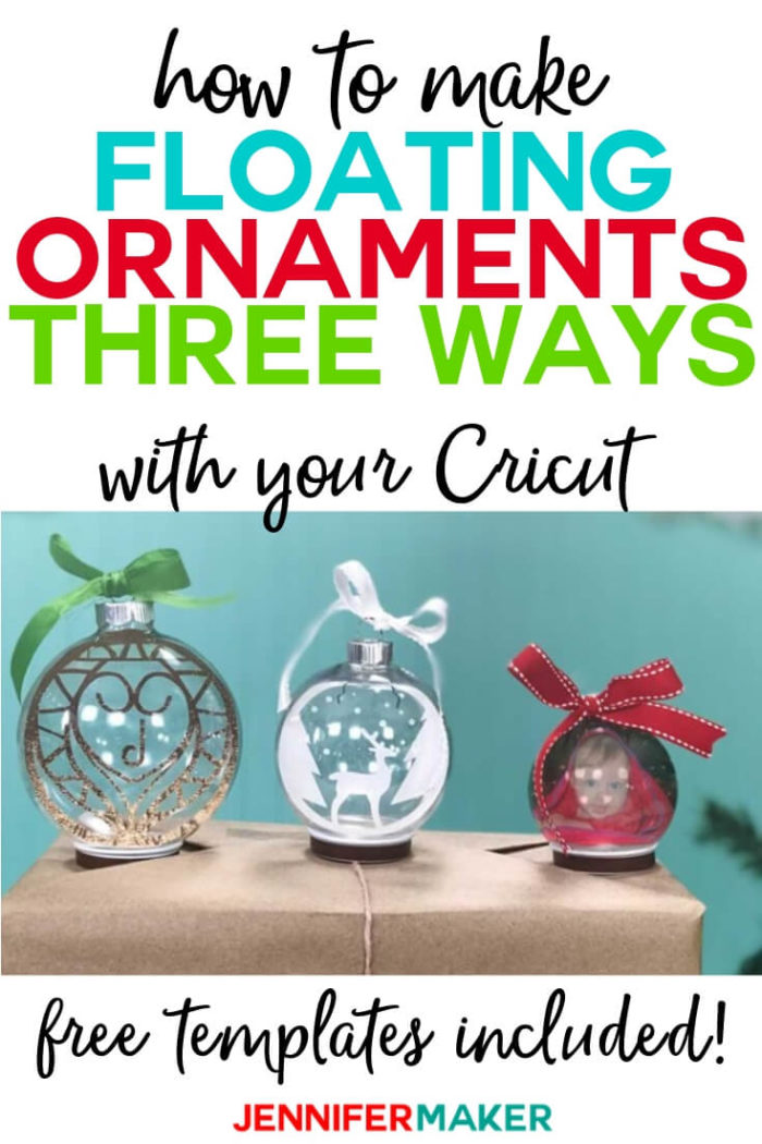 Learn how to make floating ornaments the EASY way with a Cricut. I show you three different ways to do it, including a photo ornament!  #cricut #cricutmade #cricutmaker #cricutexplore #svg #svgfile #Christmas