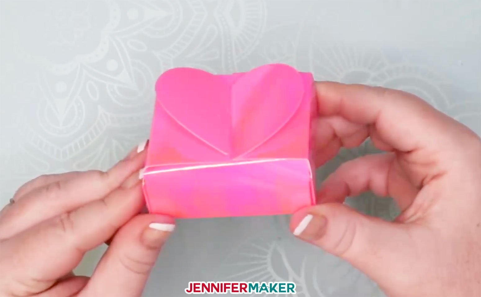 A finished pink paper heart box!