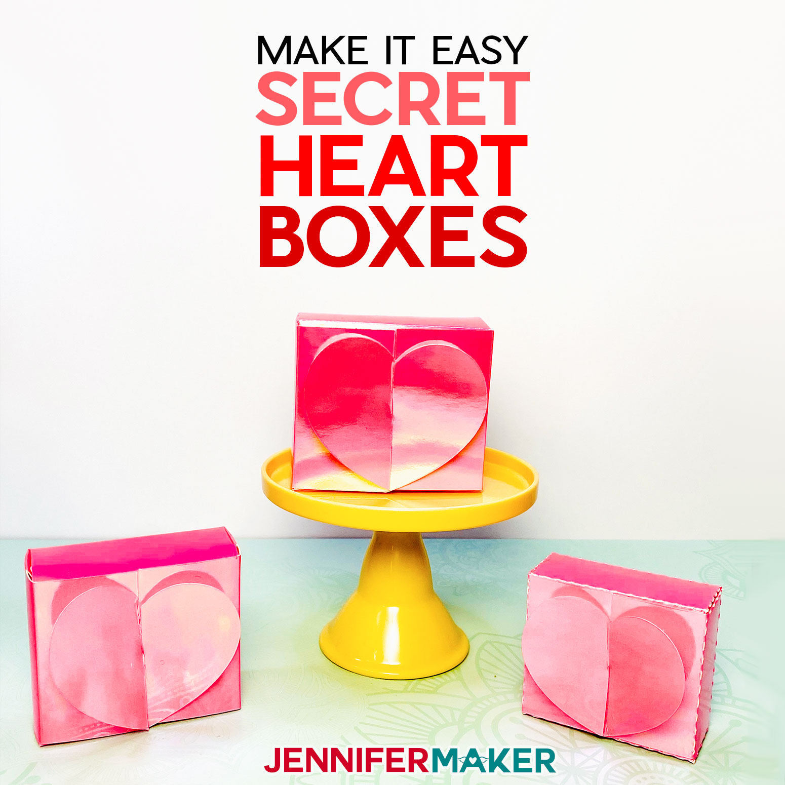 Easy Heart Boxes with Secret Hearts Inside - Free Pattern and Tutorial, cut by hand or on a Cricut cutting machine