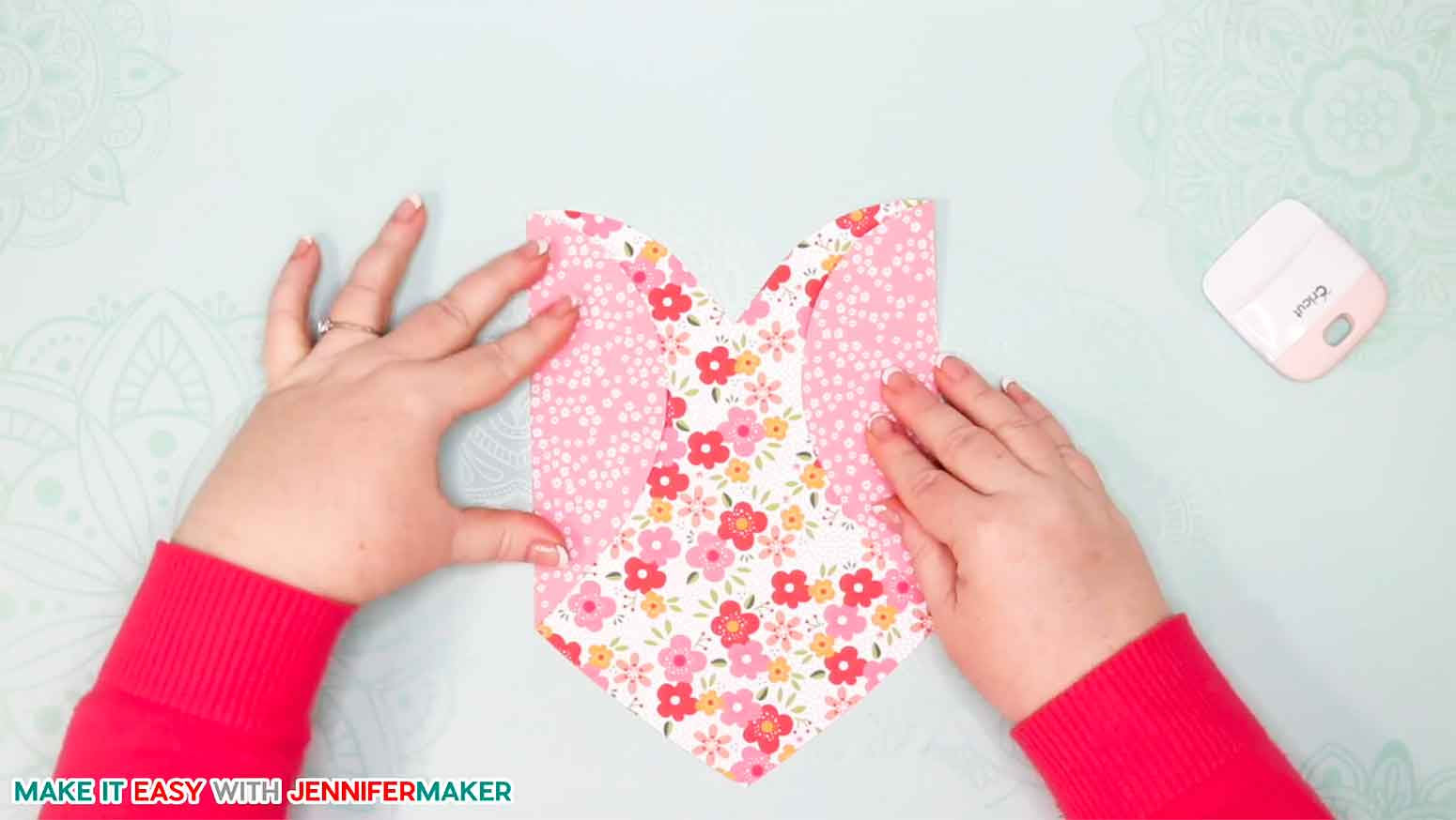 Folding the side of the easy heart paper envelope card
