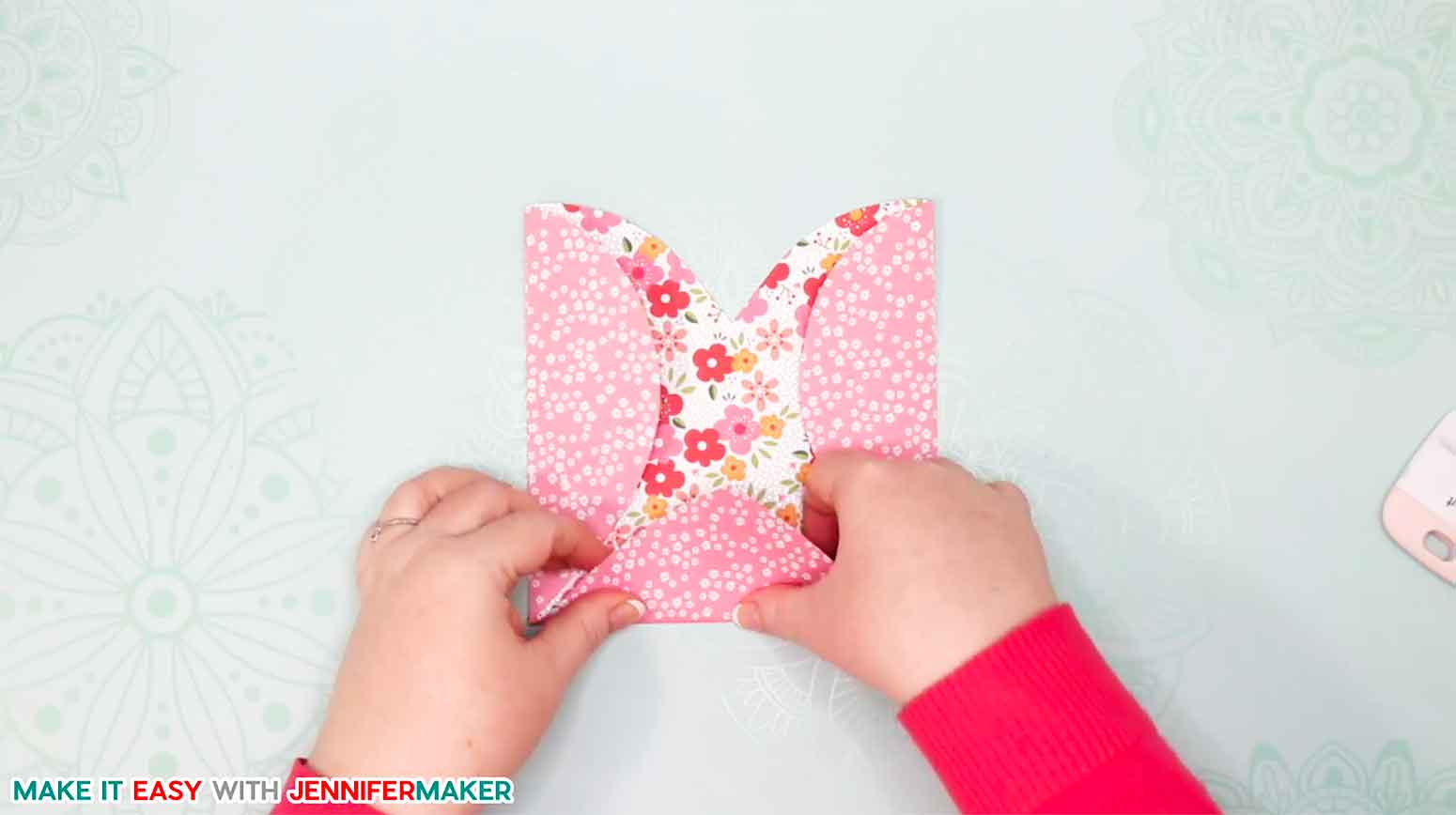 Folding the bottom of the easy heart paper envelope card