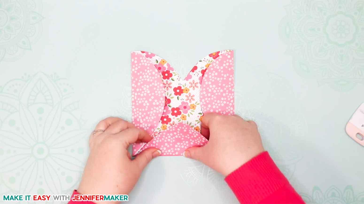 Folding the bottom of the easy heart paper envelope card