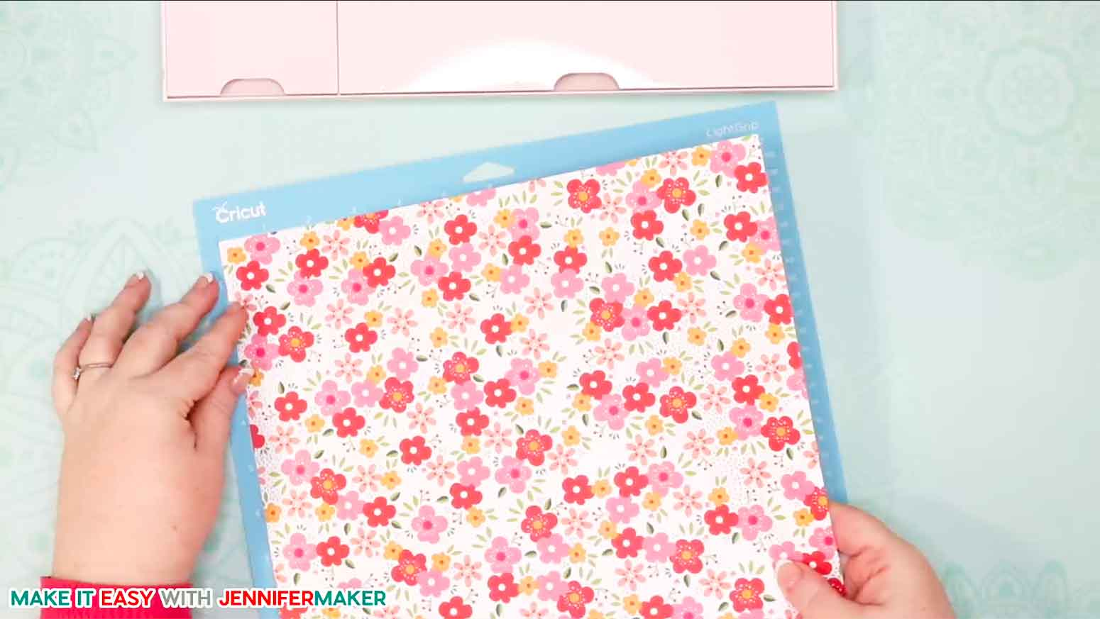 Cardstock for the easy paper heart envelope placed face down on the cutting mat