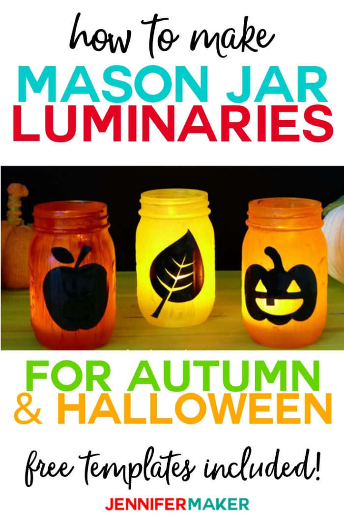 Learn how to make easy Mason Jar luminaries in various fall colors and themes with vinyl and paint.  #cricut #cricutmade #cricutmaker #cricutexplore #svg #svgfile