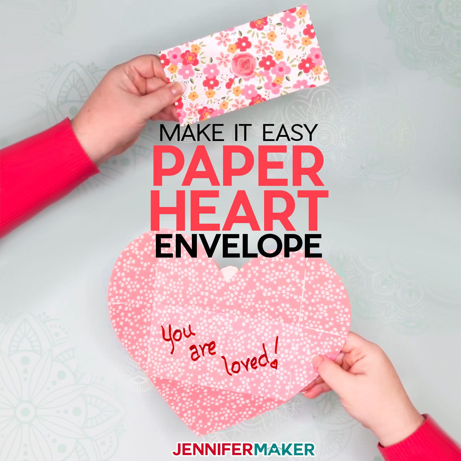 Easy Paper Heart Envelope Card - Free Pattern and SVG Cut File #cricut #heart