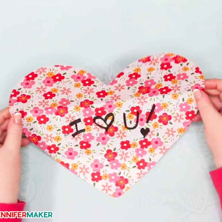 Opening the easy paper heart envelope card!