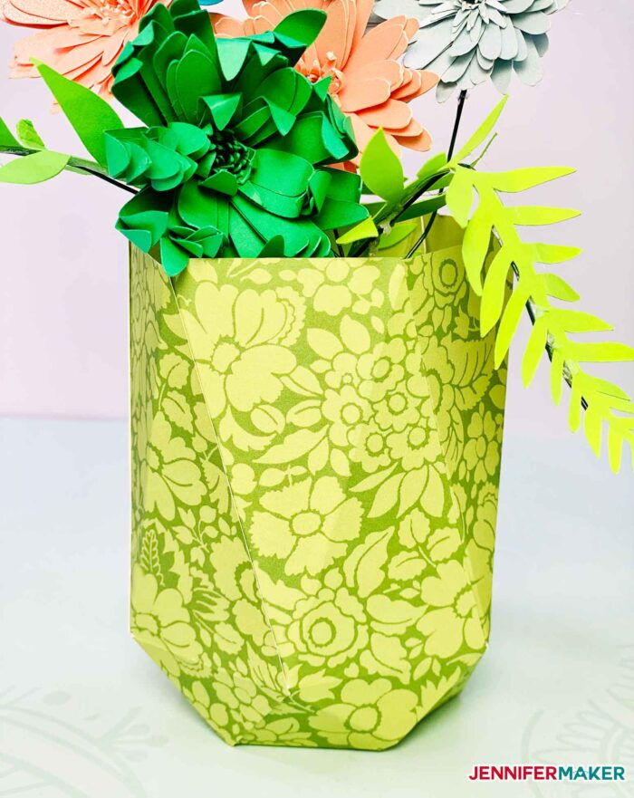 Narrow paper vase in green damask cardstock