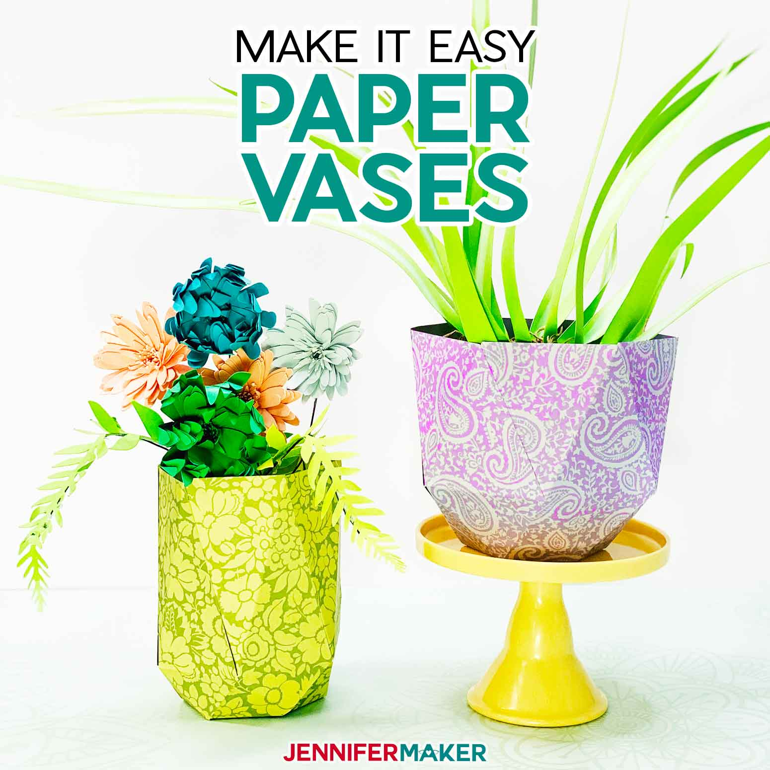 Easy Paper Vases for displaying paper flowers and succulents - free SVG cut file #papercraft #cricut #svgcutfile