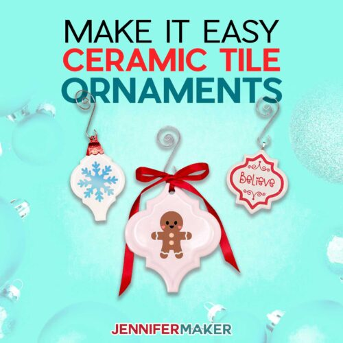 Make It Easy Personalized Tile Ornaments from ceramic tiles #cricut #christmas #vinyl