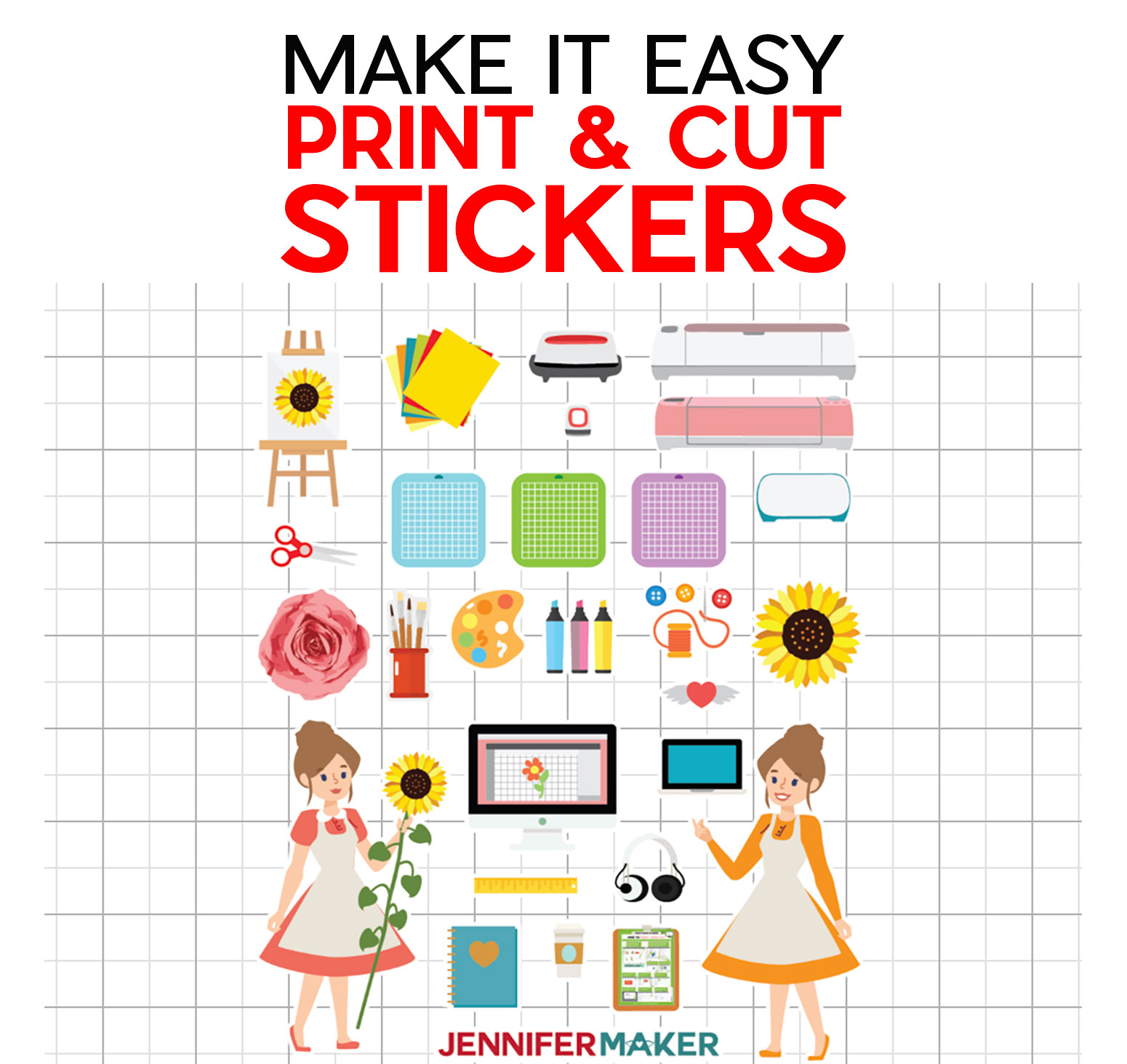 Easy Print & Cut Stickers Made on a Cricut!